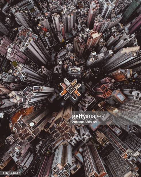 aerial perspective of skyscrapers in mid levels district, hong kong island - luchtfoto stockfoto's en -beelden