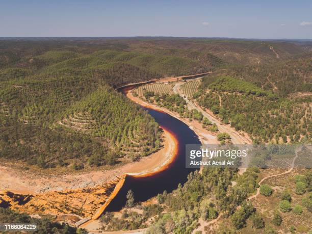 aerial perspective of the rio tinto river, spain - mining accident stock pictures, royalty-free photos & images