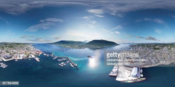 360° aerial perspective of tromso city and norwegian sea in norway - 360度視点 ストックフォトと画像