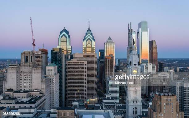 aerial philadelphia skyline at sunrise - philadelphia skyline stock pictures, royalty-free photos & images