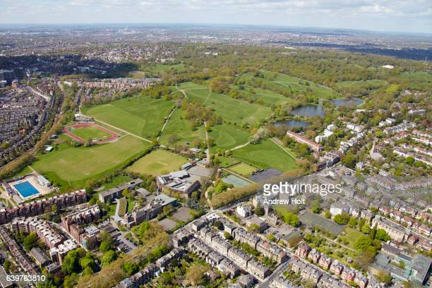 Aerial photgraphy view west of Parliament Hill. London NW5 UK.