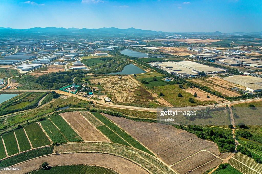 Luftaufnahme von Landwirtschaft und Landwirtschaft Land Entwicklung : Stock-Foto