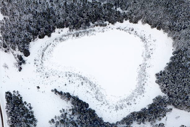 Aerial photo of a frozen lake