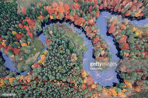 aerial photo of a river - polen stockfoto's en -beelden