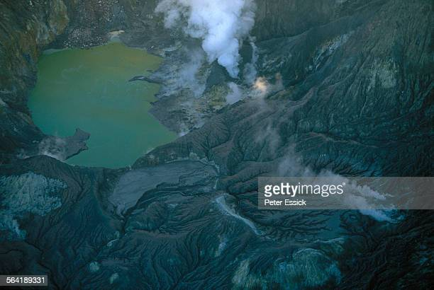Aerial photo of a volcano in New Zealand.
