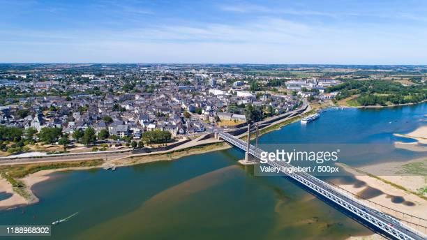 aerial photo of ancenis city, france - loire atlantique photos et images de collection