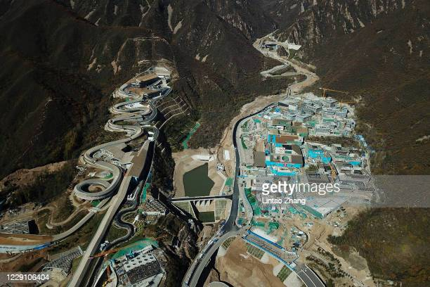 Aerial photo of Bobsleigh center and National Alpine Ski Center, venues for Beijing 2022 Winter Olympics at Yanqing Division on October 16, 2020 in...