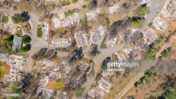 aerial photo of camp wildfire damage in paradise, california - paradise california stock pictures, royalty-free photos & images