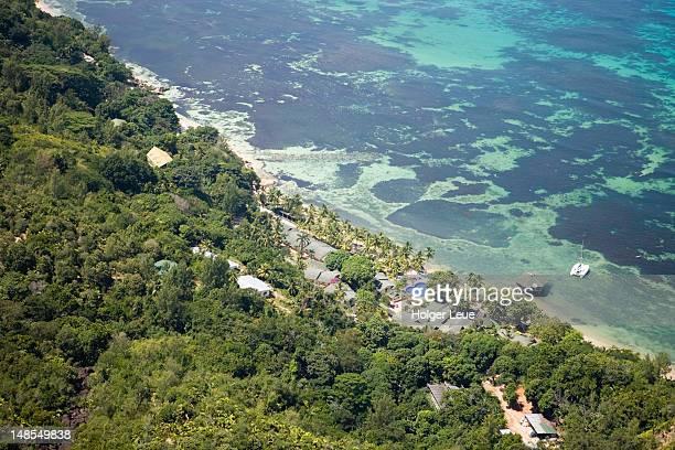 aerial photo of coco de mer resort, praslin island, seychelles - coco de mer stock pictures, royalty-free photos & images