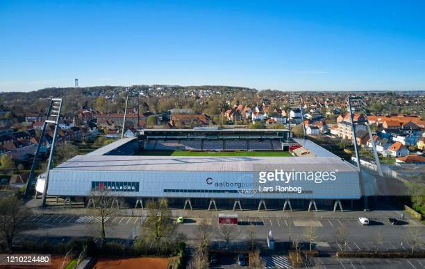 Aerial photo of danish stadium - Aalborg Portland Park, home ground of Superliga club AaB Aalborg - on April 17, 2020 in Aalborg, Denmark.