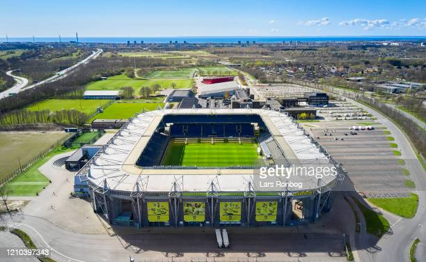 Aerial photo of danish stadium - Brondby Stadion, home ground of Superliga club Brondby IF - on April 19, 2020 in Brondby, Denmark.