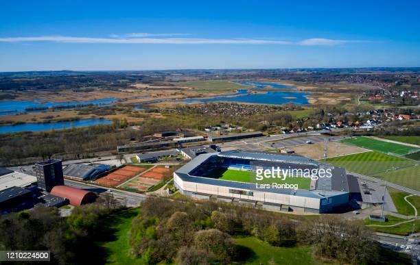 Aerial photo of danish stadium - Cepheus Park, home ground of Superliga club Randers FC - on April 17, 2020 in Randers, Denmark.
