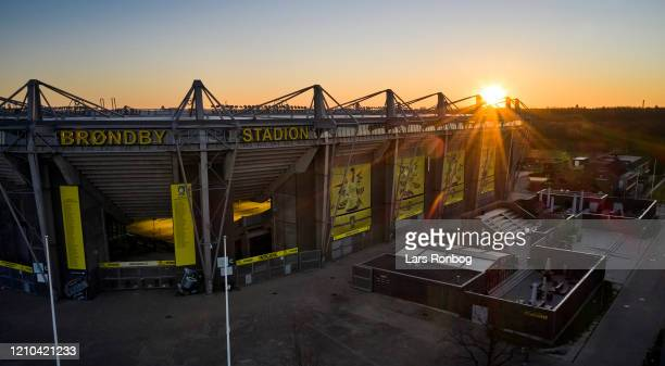 Aerial photo of danish stadium in the sunrise - Brondby Stadion, home ground of Superliga club Brondby IF - on April 20, 2020 in Brondby, Denmark.