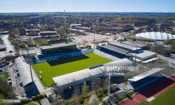 Aerial photo of danish stadium - Nature Energy Park, home ground of Superliga club OB Odense - on April 18, 2020 in Odense, Denmark.