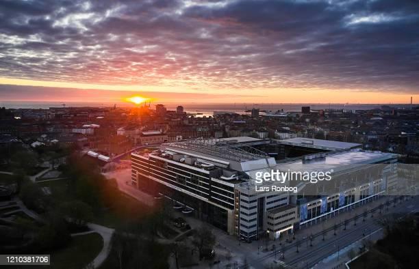 Aerial photo of danish stadium - Telia Parken, home ground of Superliga club FC Copenhagen - on April 19, 2020 in Copenhagen, Denmark.