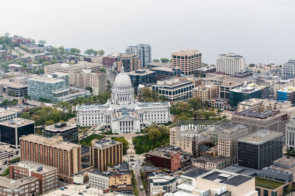 Aerial photo of downtown Madison, Wis. and the Wisconsin State Capitol. : Stock Photo