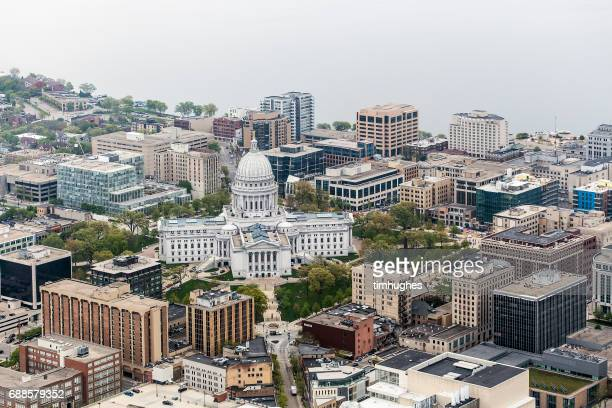 Aerial photo of downtown Madison, Wis. and the Wisconsin State Capitol.