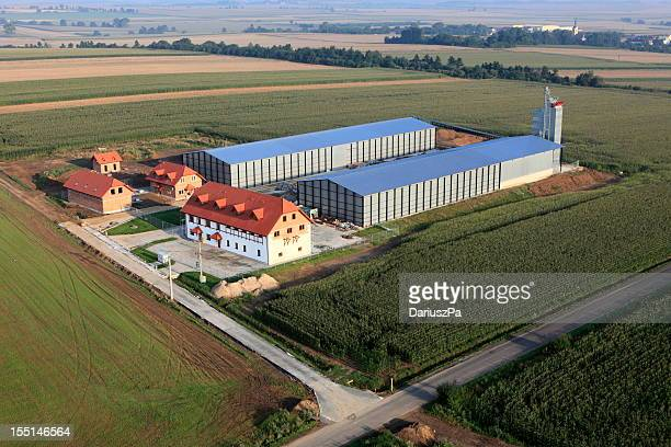 aerial photo of  food processing plant - factory farming stock pictures, royalty-free photos & images
