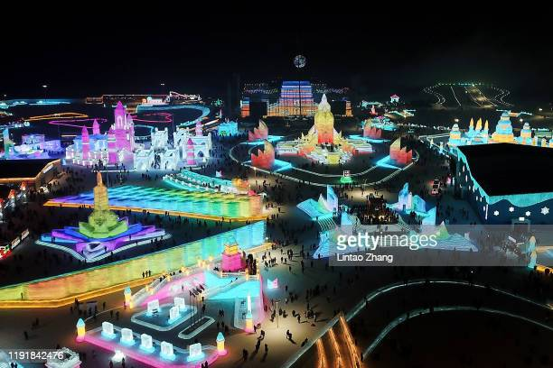 Aerial photo of Harbin Ice and snow world before during the opening ceremony of the 36th Harbin International Ice and Snow Festival on January 5 2020...