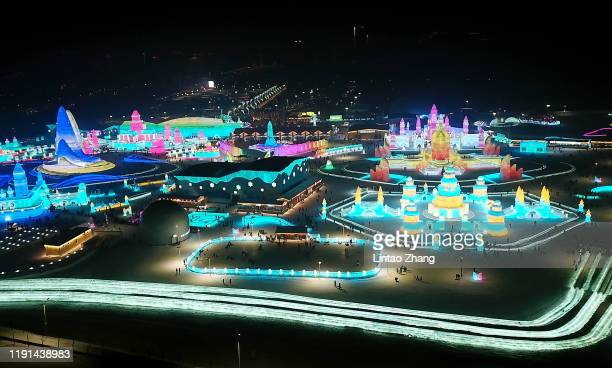 Aerial photo of Harbin Ice and snow world on January 3 2020 in Harbin Heilongjiang Province China The Ice and Snow World Park will host the 36th...