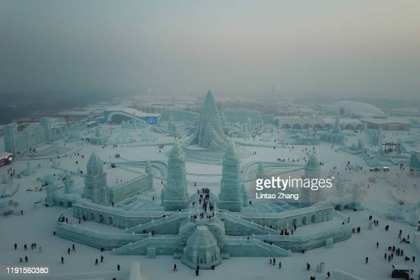 Aerial photo of Harbin Ice and snow world on January 4 2020 in Harbin Heilongjiang Province China The Ice and Snow World Park will host the 36th...