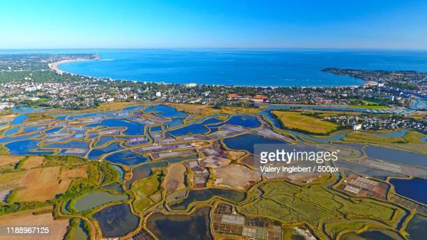 aerial photo of la baule harbor, france - loire atlantique photos et images de collection