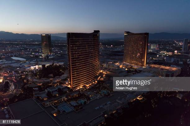 aerial photo of las vegas looking north, sunset - wynn las vegas stock pictures, royalty-free photos & images