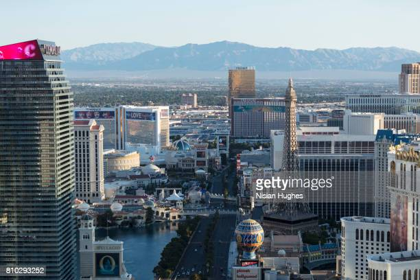 aerial photo of las vegas strip looking north, daytime - mirage hotel stock pictures, royalty-free photos & images