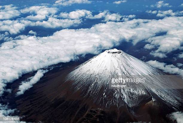 aerial photo of mount fuji - mount fuji stock photos and pictures