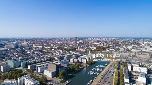 aerial photo of nantes city center - loire atlantique photos et images de collection