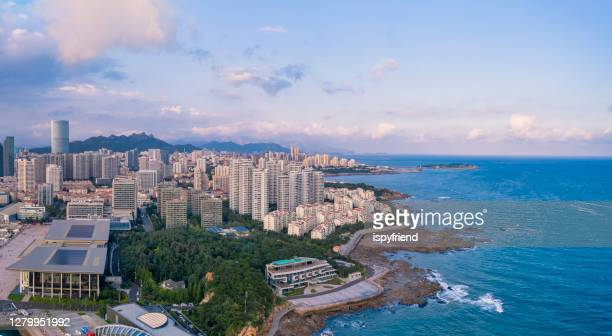 aerial photo of panoramic skyline  qingdao china - qingdao stock pictures, royalty-free photos & images