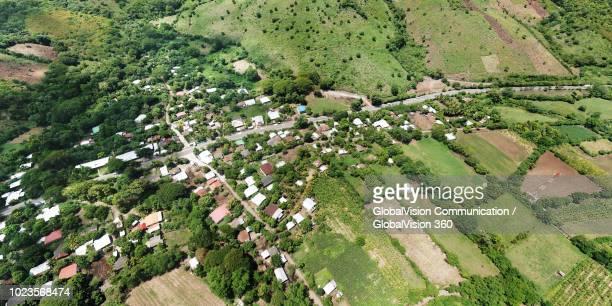 aerial photo of rio frio community, san vicente, el salvador - san salvador fotografías e imágenes de stock