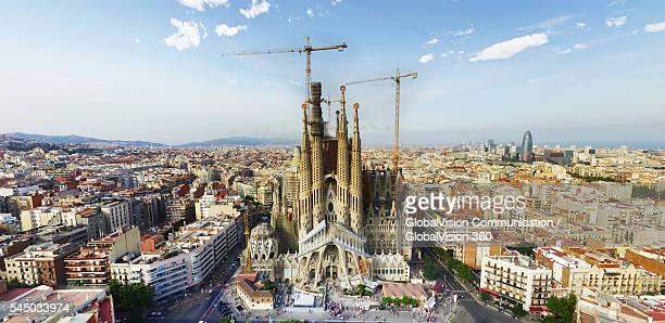 aerial photo of sagrada familia in barcelona, spain - sagrada familia stock pictures, royalty-free photos & images