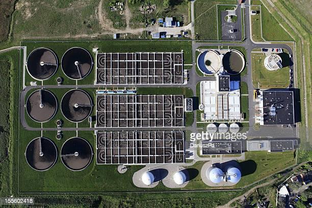 空から見た写真の下水処理場
