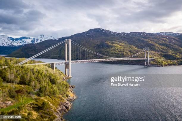 aerial photo of skjombrua, skjomen bridge near narvik in northern norway - finn bjurvoll foto e immagini stock