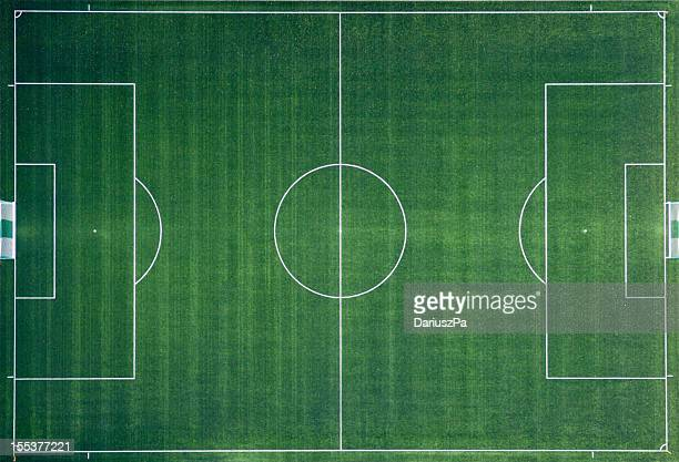 aerial photo of soccer field - voetbalveld stockfoto's en -beelden