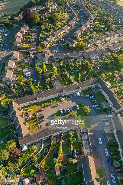 aerial photo of suburban homes and gardens - overhemd en stropdas stock pictures, royalty-free photos & images