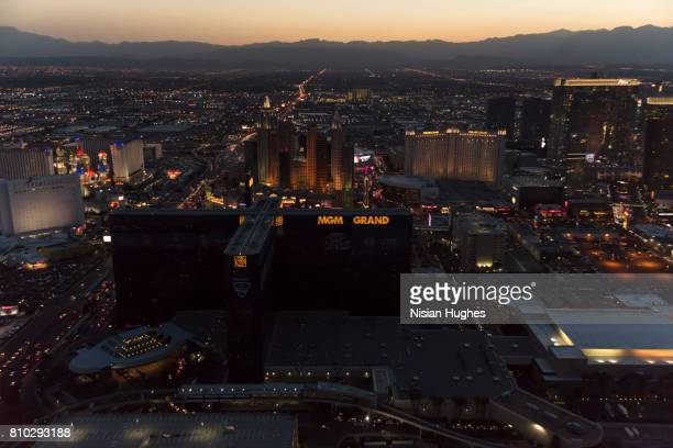 Aerial photo of The Las Vegas Strip lights, Sunset