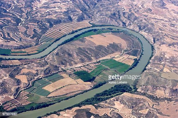 Aerial photo of the river Ebro in Ribera Baja Aragon Aragon region 11th Juny 2007