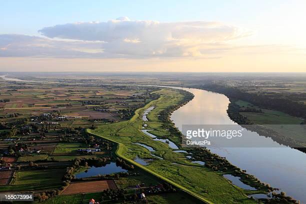 Aerial photo of the Vistula river