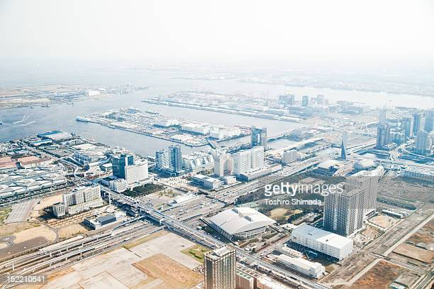 aerial photo of tokyo, japan - tokyo big sight stock photos and pictures