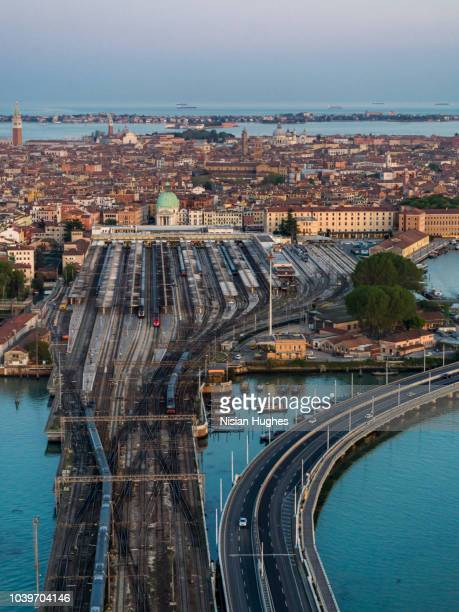 Aerial photo of Venice city, train station, Italy, Sunset