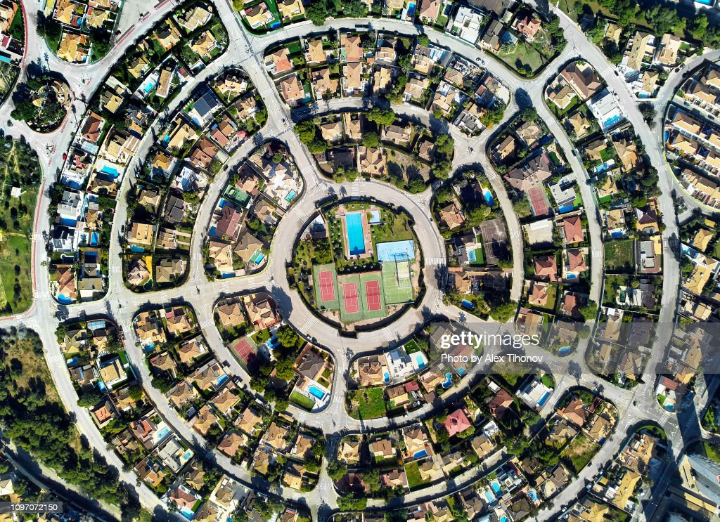 Aerial photo round shape residential district of Campoamor. Spain : Stock Photo
