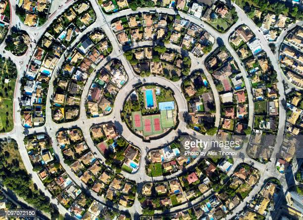 aerial photo round shape residential district of campoamor. spain - city photos stock pictures, royalty-free photos & images