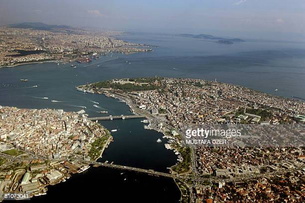 Aerial photo taken on April 30 shows the peninsula and Pera side of Istanbul separated by the Golden Horn and the Asian part across the Bosphorus A...