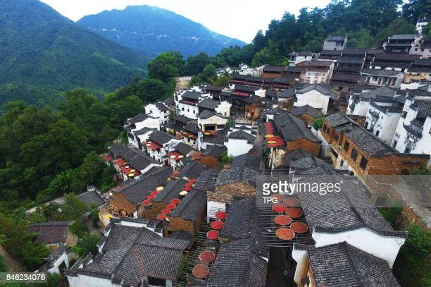 Aerial photo taken on Sept5 2017 shows the autumn landscape of Huangling Wuyuan County east Chinas Anhui Province which is recognized by many as one...