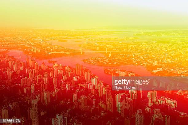 Aerial photo with treatment of Upper NYC