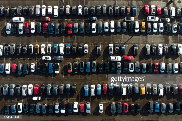Aerial photograph of a large parking place on February 18 2020 in Ketzin Germany
