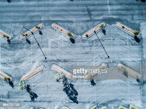 Aerial photograph of a resort parking lot.