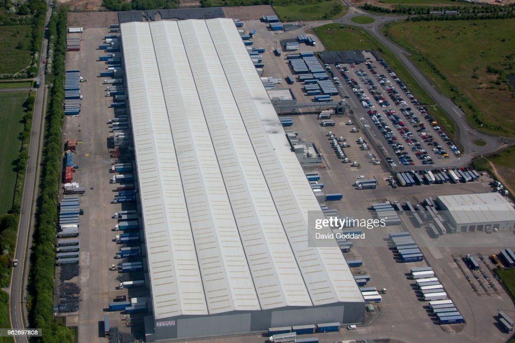 Aerial View of Tesco distribution Centre, Rugeley Staffordshire ...